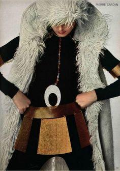1970 Pierre Cardin #bohemian #chic   long fuzzy wrap coat, wood paneled skirt belt, black jumpsuit