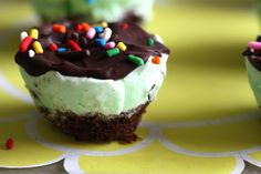 Mint chocolate chip ice cream cupcakes