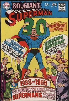 SUPERMAN #207 CLASSIC 80 GIANT 30th ANNIVERSARY. VF- CENTS OFF WHITE TO WHITE PAGES