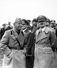 manoeuvre in Mecklenburg, Benito Mussolini and Adolf Hitler watching the military exercises - 1937 Anti Communism, Treaty Of Versailles, Moving To Germany, Invasion Of Poland, Workers Party, Nazi Propaganda, Italian Army, The Third Reich, Rare Photos