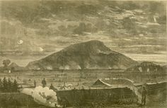 "Sept. 15, 1863: James marched up and down Lookout Mountain, shown here in a drawing of a later fight. ""Lookout Mountain - Sketched by Theodore R. Davis from Our Works on Chattanooga Creek - The Rebels Sheilling Our Camps."" Harper's Weekly, November 14, 1863. Missouri History Museum. Read his letter to Molly: http://historyhappenshere.org/archives/7444"