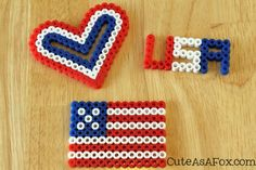 Patriotic Perler Bead Projects. Templates and directions at Cuteasafox.com. A great summer craft for kids. #sponsored #4thofJuly