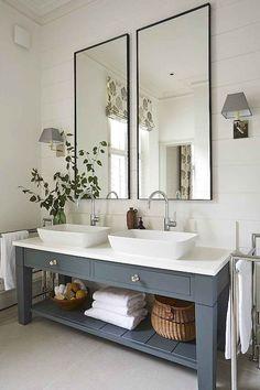 gorgeous modern farmhouse bathroom decor ideas match with any home design 74 Bathroom Colors, White Bathroom, Colorful Bathroom, Bathroom Ideas, Bathroom Vanities, Bathroom Organization, Bathroom Designs, Remodel Bathroom, Bathroom Cabinets