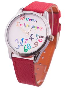 Whatever Im Late Anyway Wrist Watch Red Leather by Lateanywaywatch