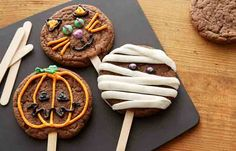 Halloween Cookies on a Stick are baked with rich HERSHEY'S Cocoa. Who wouldn't enjoy every bite!