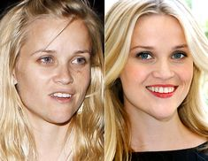 Reese Witherspoon with and without makeup. If you want to feel like a celeb with your own personal makeup artist, contact me for a free makeover in central Louisiana or find a Fleur de Vie advisor near you at www.fleurdevie.me