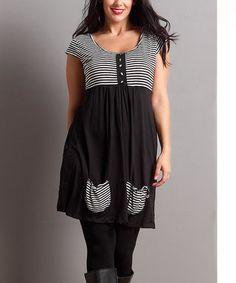 Black Stripe Scoop Neck Pocket Tunic - Plus