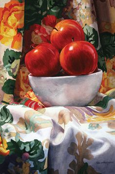 """Royal Galas"" - Karin Isenburg, watercolor {contemporary art apples fruit still life painting Watercolor Fruit, Fruit Painting, Large Painting, Watercolor Paintings, Watercolours, Apple Painting, Watercolour Illustration, Still Life Fruit, Apple Art"