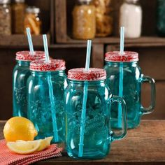 The Pioneer Woman Simple Homemade Goodness 32-Ounce Mason Jars with Handle, Lid and Straw, Set of 4 - Walmart.com