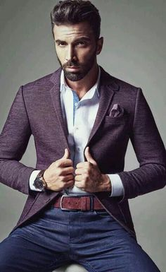Men's Purple Textured Knit Blazer | Men's Fashion