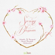 Spring Wreath & Bouquet Flowers Clipart. Handpainted watercolor, wedding, spring floral, invitations, greetings, blossom, romantic, frames