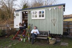 Harry and Phil outside our shepherds hut. Curpinol willow and daisy white. F&B pointing inside Shepherds Hut, Pop Cans, The Outsiders, Shed, Outdoor Structures, Outdoor Decor, Daisy, Home Decor, Homemade Home Decor