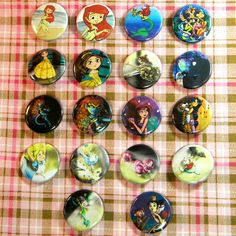 Choose 3 Disney Pinback Buttons. $4.00, via Etsy.