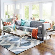 The Carmichael Sofa With Tangerine Dream Colour Story Accents Contemporary Furniture Stores Contemporary Decor Living Room Contemporary Modern Furniture