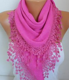 Hot Pink Knitted Scarf Shawl Cowl Lace Oversized by fatwoman