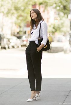 White shirt, black pants, white heels, Gucci bag / Garance Doré