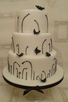Monochrome Butterflies Wedding Cake