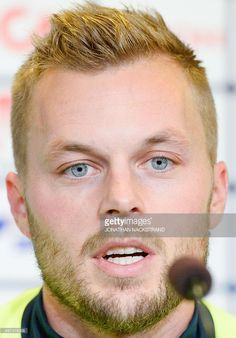Sweden's national football team player midfielder Sebastian Larsson gives a press conference at the Parken stadium in Copenhagen on November 16, 2015 on the eve of the Euro 2016 playoff football match between Denmark and Sweden. AFP PHOTO / JONATHAN NACKSTRAND