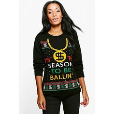 Boohoo Lottie Tis The Season To Be Ballin' Christmas Jumper ($18) ❤ liked on Polyvore featuring tops, sweaters, christmas jumpers, knit wrap sweater, nordic sweater, sequined christmas sweaters and knit sweater