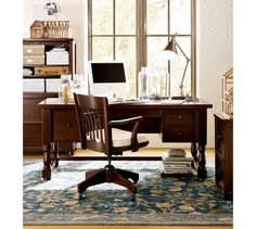 pottery barn home office furniture. printeru0027s office suite artisanal black stain desks and drawers pottery barn home furniture