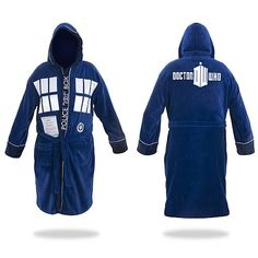 Kinda want this, too! Looks really cozy! Doctor Who TARDIS Hooded Blue Cotton Bathrobe
