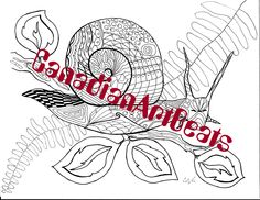 Coloring Page Downloadable Printable Garden Snail Art by CanadianArtBeats on Etsy