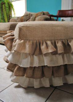 Burlap Ruffled Ottoman. Wanna make a shower curtain witb ruffles like these.