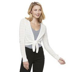 Juniors' Candie's® Tie Front Cardigan, Girl's, Size: Medium, Natural