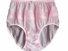 1cb32029efcfe Undies Granny Fair Pink Briefs Panties Floral Lacy Nylon Pinup Women  Knickers Size XXL Hip 38
