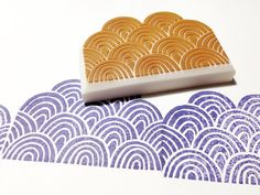 ocean wave pattern stamp. wave hand carved rubber by talktothesun