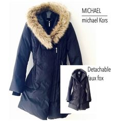 Michael Kors Puffer Coat | NEW Michael Kors Puffer Coat top of the line Michael Kors label. Down filled. Sleek lines. Comfort wrist cuff and mock neck to shield from a draft, bristling wind chill and snow. Covered placket. Interior double zipper closer for added warmth in extreme weather conditions. Detachable faux fox hood trim - See all images for details. NWOT Never Used$393 Michael Kors Jackets & Coats Puffers