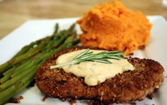 Pecan Crusted Seitan with Creamy Mustard Sauce, Asparagas and Coconut Mashed SweetPotatoes