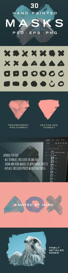 Hand Painted Photo Mask Shapes EPS, PSD