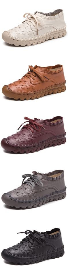 US$52.45 SOCOFY Casual Handmade Stitching Leather Lace Up Flat Casual Shoes