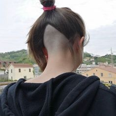 Image may contain: one or more people, closeup and outdoor Long Undercut, Nape Undercut, Undercut Women, Undercut Hairstyles, Haircuts, Shaved Nape, Shaved Sides, Undercut Tattoos, Buzzed Hair