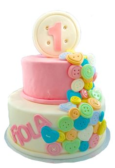 2 tier Cute as a Button Cake fondant
