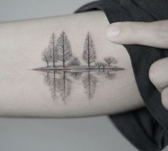 A quiet lake in winter tattoo on the right arm. Source by [pin_pinner_useA quiet lake in winter tattoo on the right arm. A quiet lake in winter tattoo on the right arm. Lake Tattoo, Tattoo Son, Diy Tattoo, Get A Tattoo, Tattoo Bird, Tree Line Tattoo, Tree Tattoo Arm, Custom Tattoo, Demon Tattoo