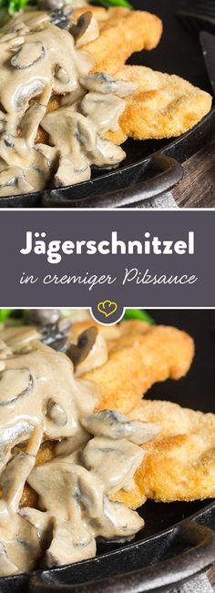Classic hunter& schnitzel with chanterelle mushroom sauce-Klassisches Jägerschnitzel mit Pfifferling-Champignon-Sauce Chanterelles, mushrooms and onions combine to form a creamy sauce that you can not get enough of for your tender schnitzel. Mushroom And Onions, Mushroom Sauce, Mushroom Recipes, Creamy Mushrooms, Pasta Recipes, Soup Recipes, Vegetarian Recipes, Cooking Recipes, Vegetable Drinks