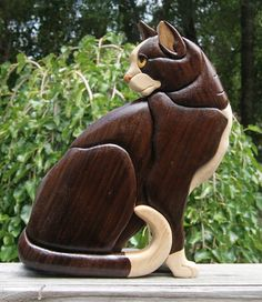 Cat Intarsia Wall hanging by EntwoodCrafts on Etsy, $55.00