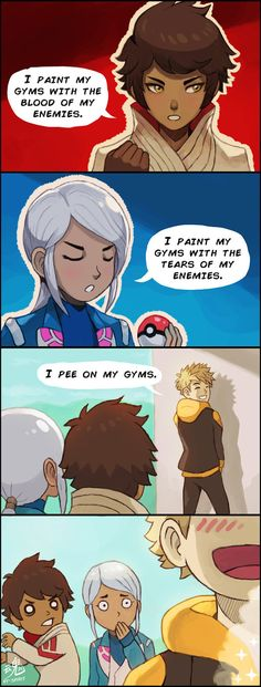 Marking Territories - Pokemon GO Team Leaders Comic…lol Pokemon Go Comics, Pokemon Pins, Pokemon Funny, Pokemon Memes, Draw Pokemon, Pokemon Team, Pokemon Stuff, 100 Memes, Funny Memes