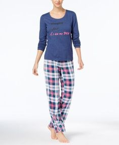 Jenni by Jennifer Moore Top & Printed Fleece Pants Pajama Set, Created for Macy's - Purple XXL