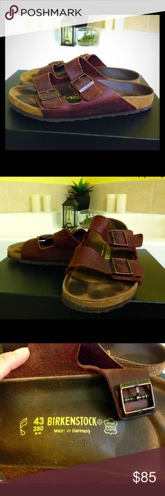 BIRKENSTOCK sandal Arizona in oiled leather. Made in Germany.Color dark red( burgundy ). In great condition. I have a lot of birks so they don't get used a lot. This is the only sandal you need for life. Classic never go out of style. Size 43 Birkenstock Shoes Sandals & Flip-Flops