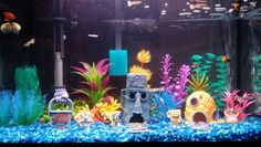 Our very own Bikini Bottom fish tank! My son is a huge fan of Spongebob Squarepants so I thought the theme of our new aquarium is perfect for him. Couldn't be happier with the outcome!