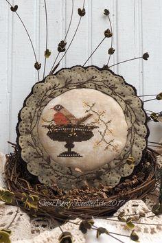 Spring robin cross stitch home decor.