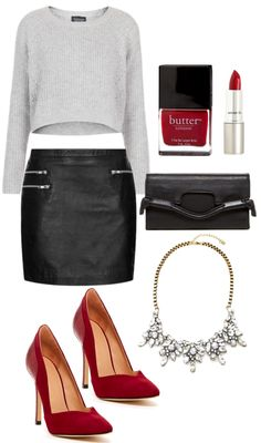 A night out look...I love the pop of red. ♡