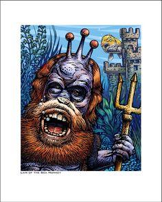 The Lair of the Sea Monkey- 8 x 10 Signed Print Sea Monkeys, Paper Dimensions, Sign Printing, Metal Crafts, Studio Ghibli, Creative Art, Vivid Colors, Craft Supplies, King
