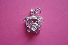 Wire Piglet Pendant, Silver plated copper pig necklace