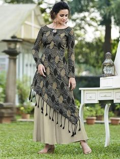 Stylee Lifestyle Women's Art Silk Blend Printed Gown in Grey Silk Kurti Designs, Kurta Designs Women, Kurti Designs Party Wear, Latest Kurti Designs, Designer Party Wear Dresses, Indian Designer Outfits, Designer Gowns, Indian Gowns Dresses, Pakistani Dresses