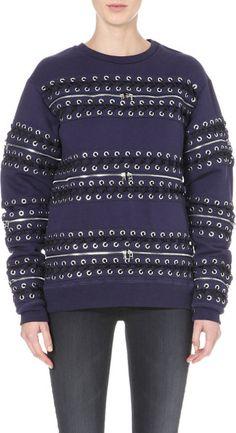 Hood By Air Blue Printed Cotton-jersey Sweatshirt Navy @Lyst #LaPETITEBlog