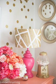 DIY Lampshadelove the gold and pink.  All of it, esp the gum ball machine!